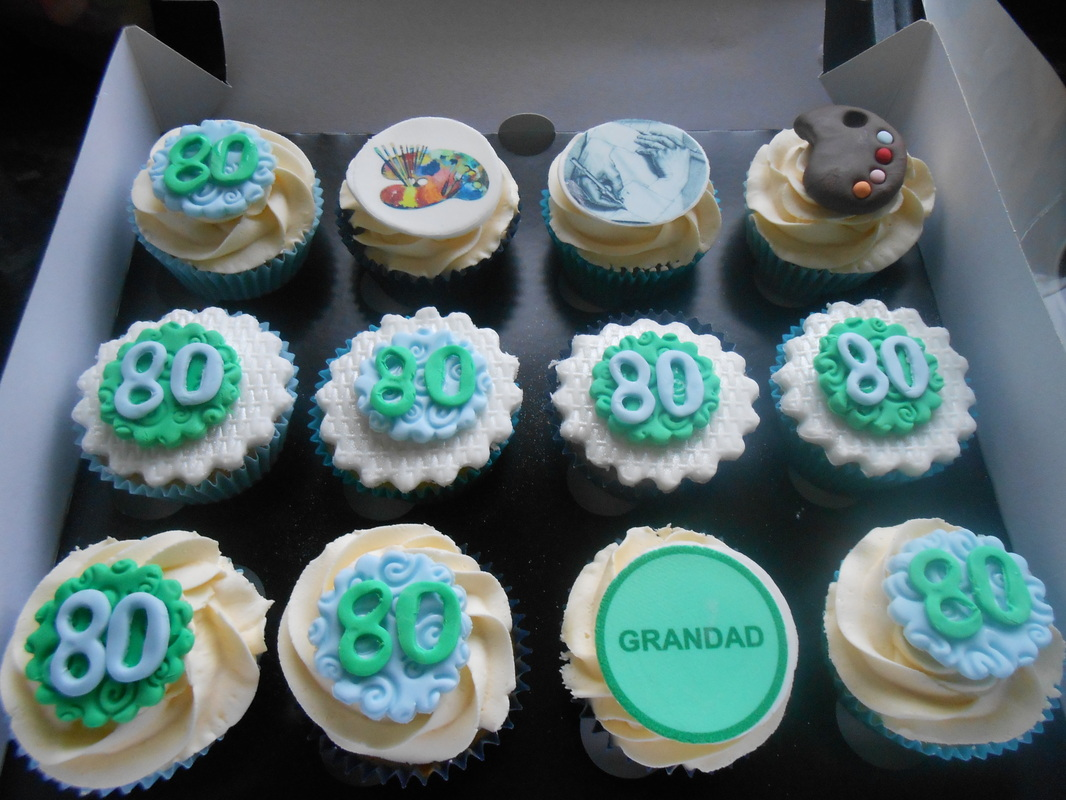 80th Birthday Cupcakes