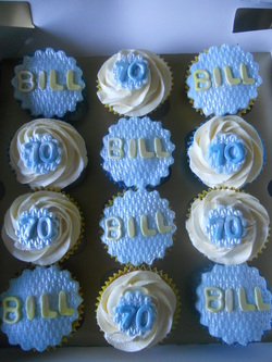 Bills 70th Birthday cupcakes